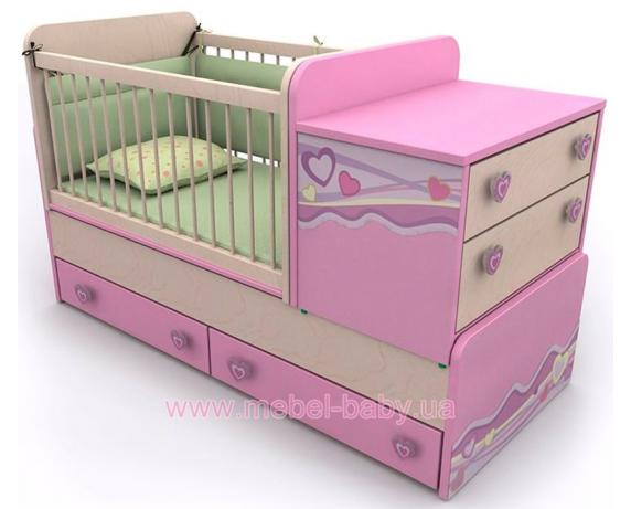 Кроватка-трансформер для новорожденных Pn-30 Briz 70х180 (70x120)