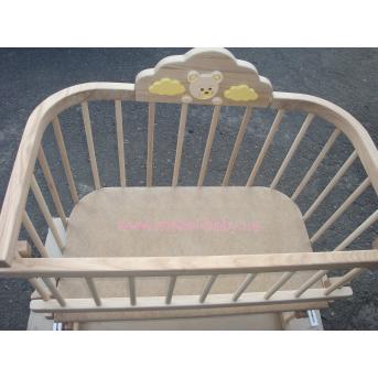 """Приставная кроватка для новорожденных Multi-bed Premium декор стандарт """"Мишка"""" Поляна сказок Ольха 45х80"""