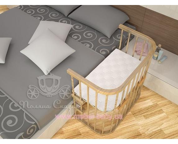 Приставная кроватка для новорожденных Multi-bed Premium макси Поляна сказок Ольха Лак 55x100
