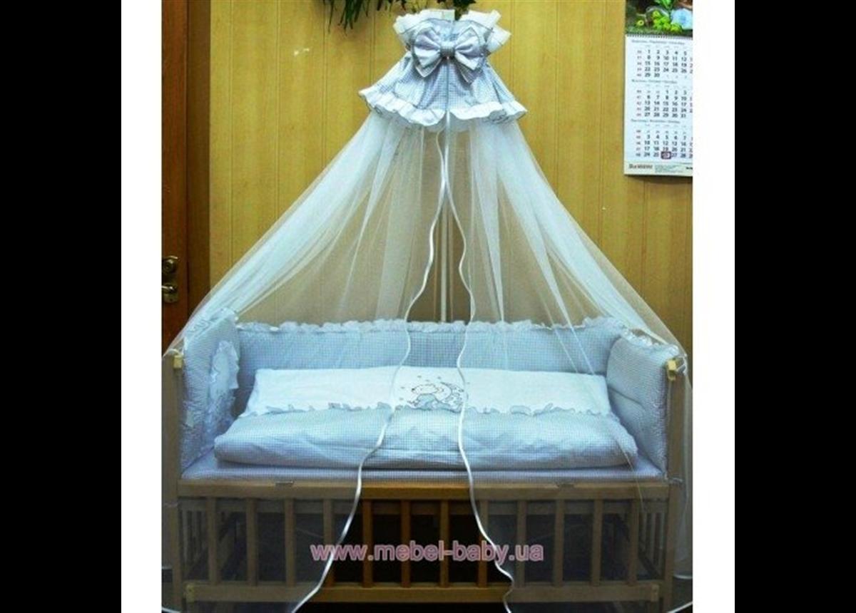 ДБ031 Спальный набор в детскую кровать вышивка (балдахин вуаль)