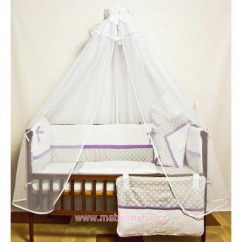 ДБ032 Спальный набор в детскую кровать комбинированный 9 предметов (балдахин вуаль)
