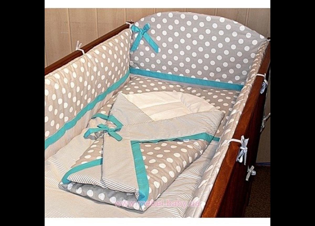 """ДБ032/1 Спальный набор в детскую кровать комбинированный """"Горошек Полоска"""" (без балдахина) 8 предметов"""