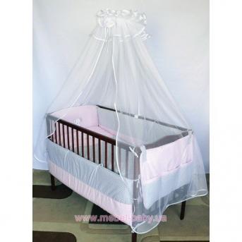 """ДБ034 Спальный набор в детскую кроватку """"Собачки"""" 9 предметов (балдахин фатин)"""