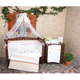 """Комплект постельного белья для новорожденных Veres""""Spring Birdies beige""""(7о, арт. 163.02"""