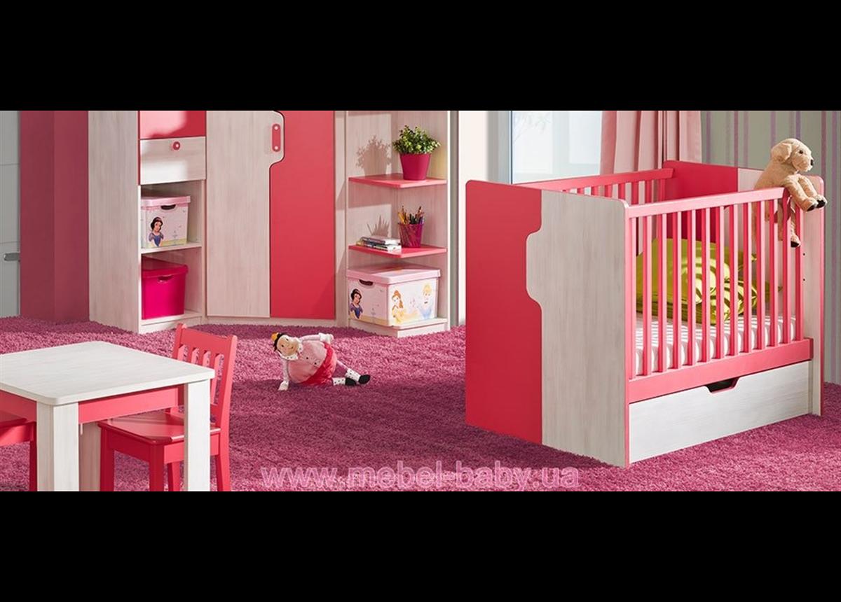 Кроватка-трансформер для новорожденных Nuki NU10 с ящиком для белья Dolmar (Польша) Сосна 120х60
