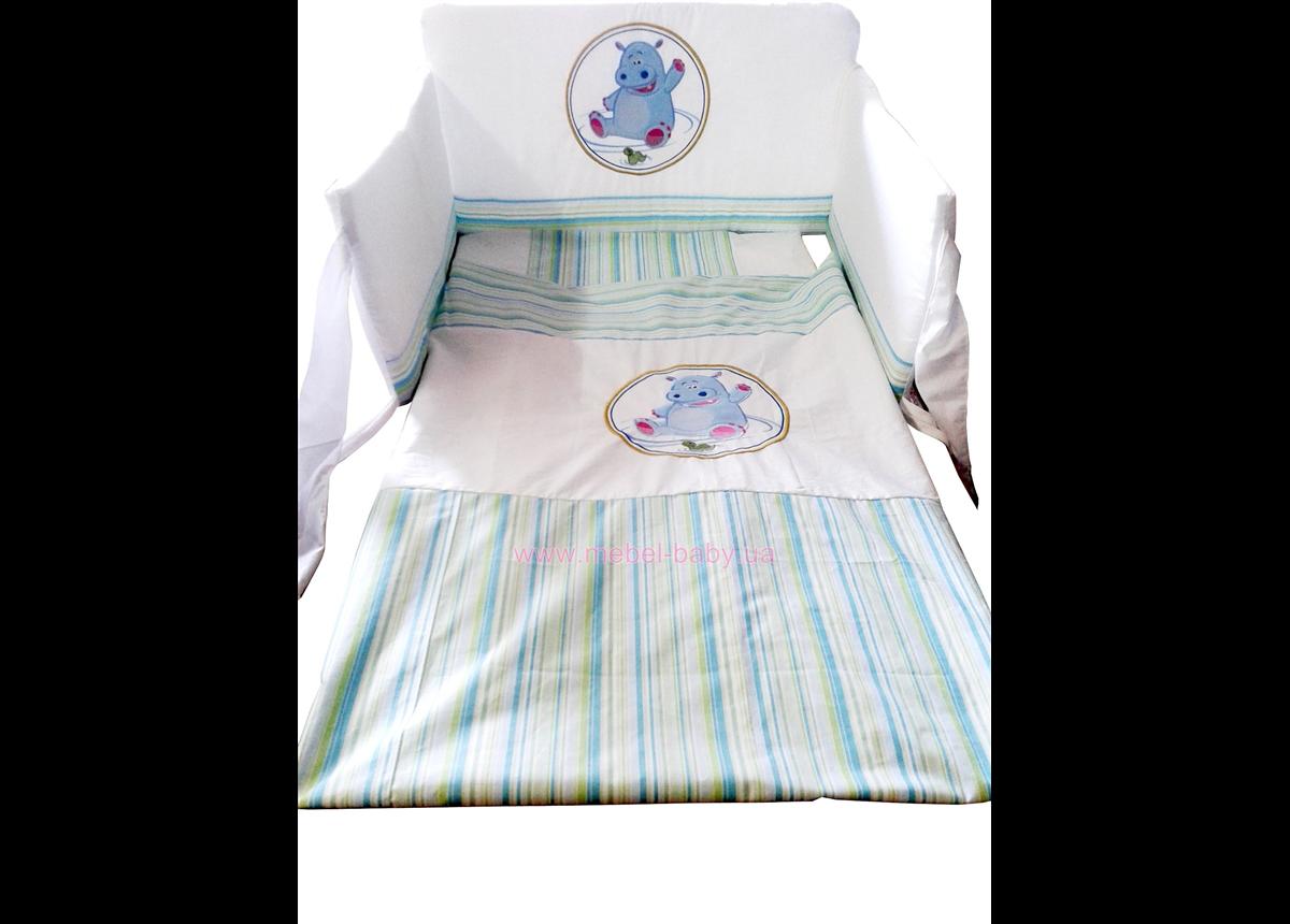 910 Постельный набор кроватки для новорожденного Меблик Happy Animals