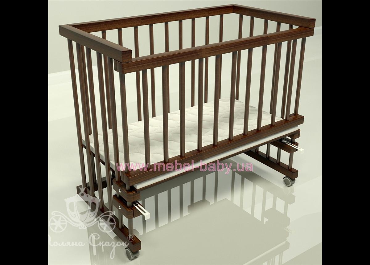 Приставная кроватка для новорожденных Multi-bed Classic стандарт Поляна сказок Ольха Коричневый 45х80