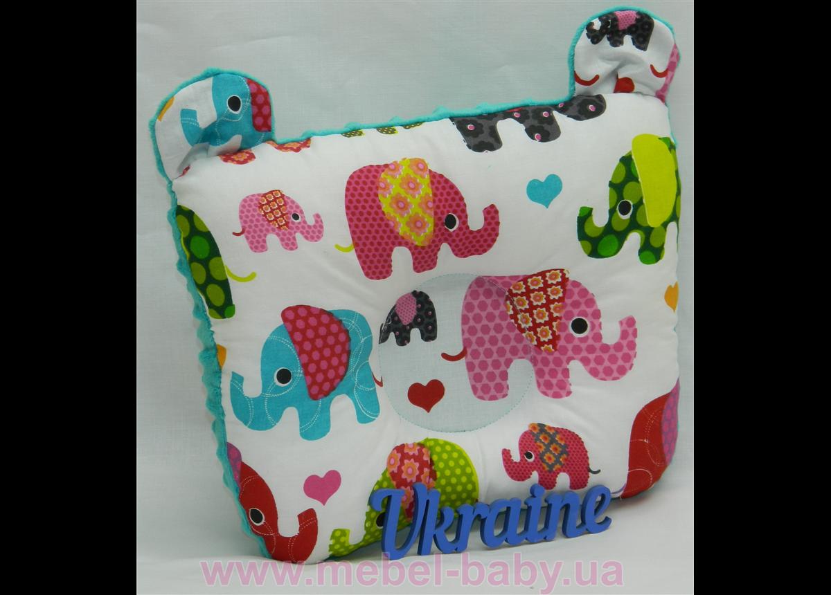 """Подушка для новорожденных """"Слоники"""", с ушками"""