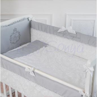 Спальный комплект постельного белья Family Kingdom серый