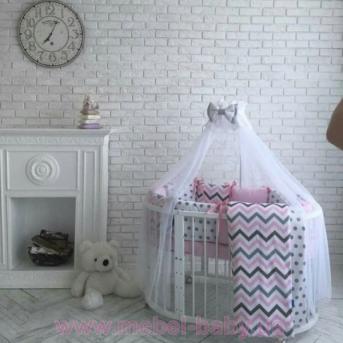 Комплект Бейби дизайн Premium indigo розовый (7 предметов)
