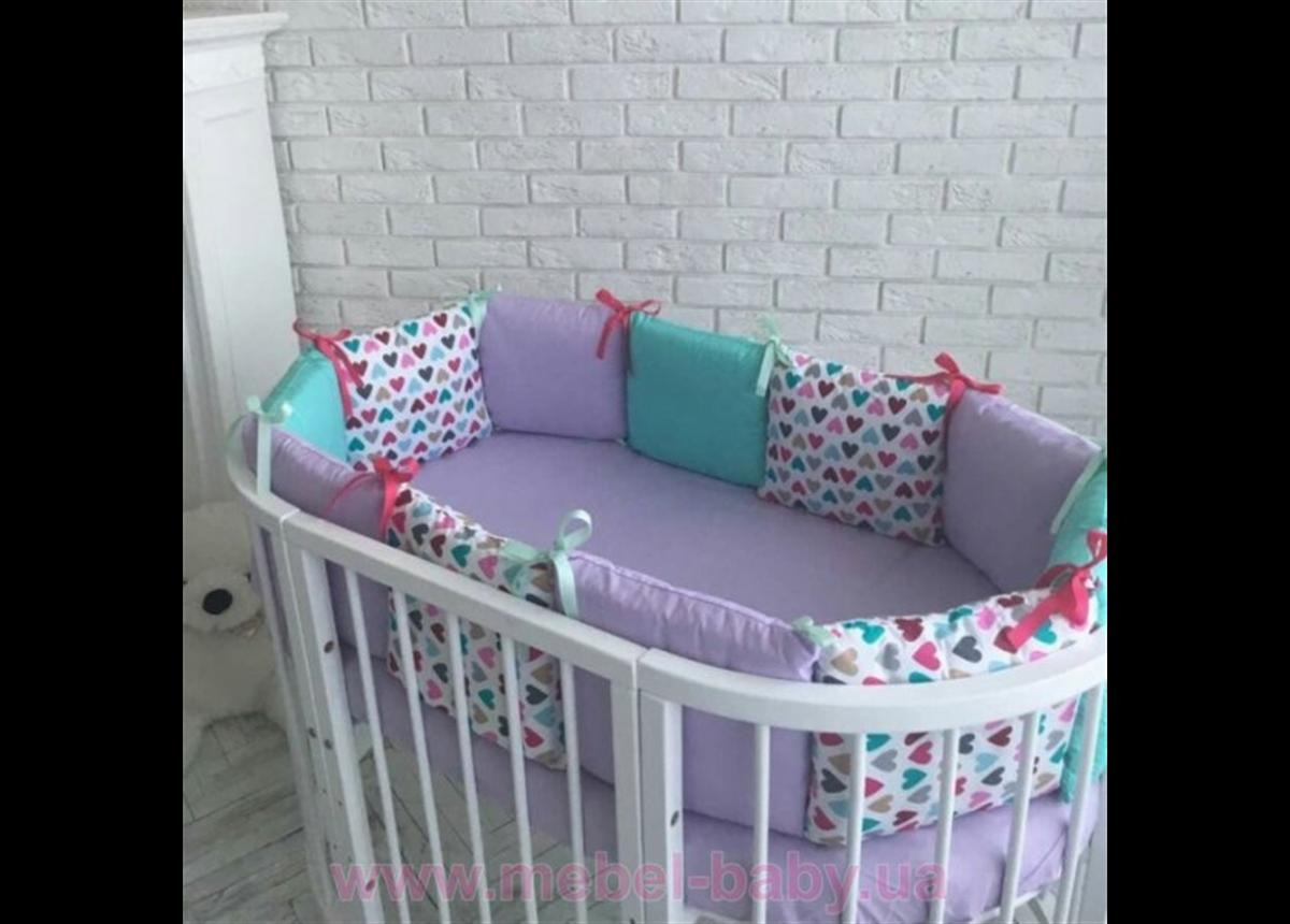 Защита Бэби дизайн №24 Разноцветные сердечки 12 подушек + простыня