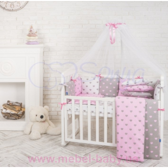 Набор постельного белья Baby Design сердца розовый (7 предметов)