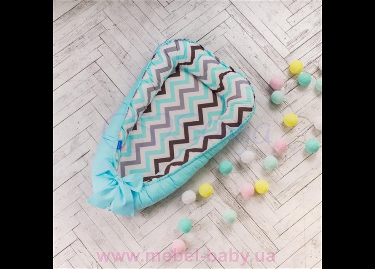 Кокон Baby Design Premium Индиго голубой Маленькая Соня