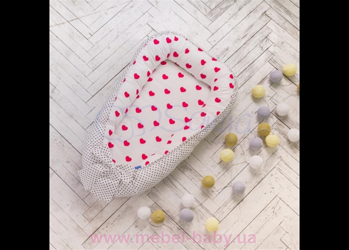 Кокон Baby Design Сердца красные Маленькая Соня