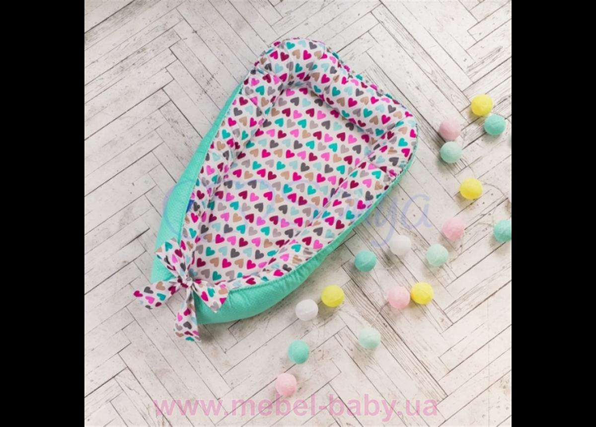 Кокон Baby Design Разноцветные сердечки Маленькая Соня