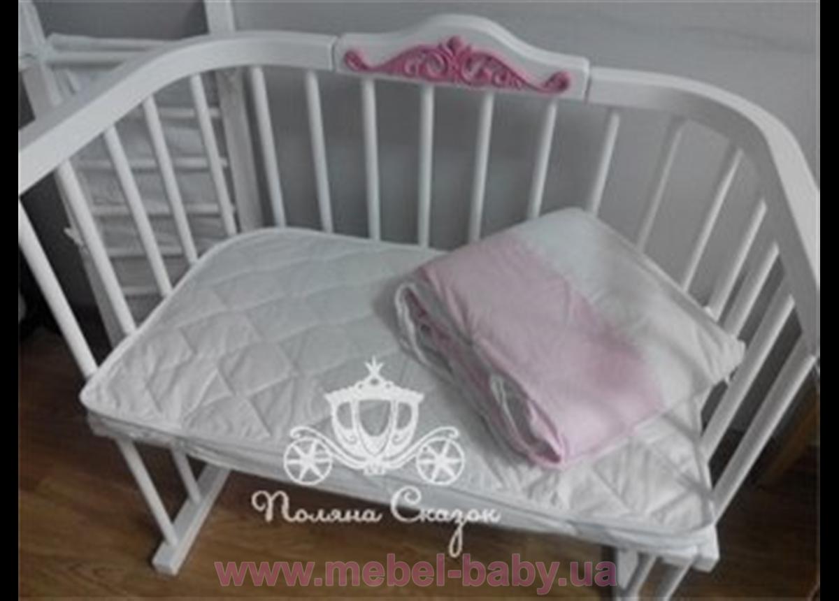 """Приставная кроватка для новорожденных Multi-bed Premium декор стандарт """"Ажур"""" Поляна сказок Ольха Белая 45х80"""