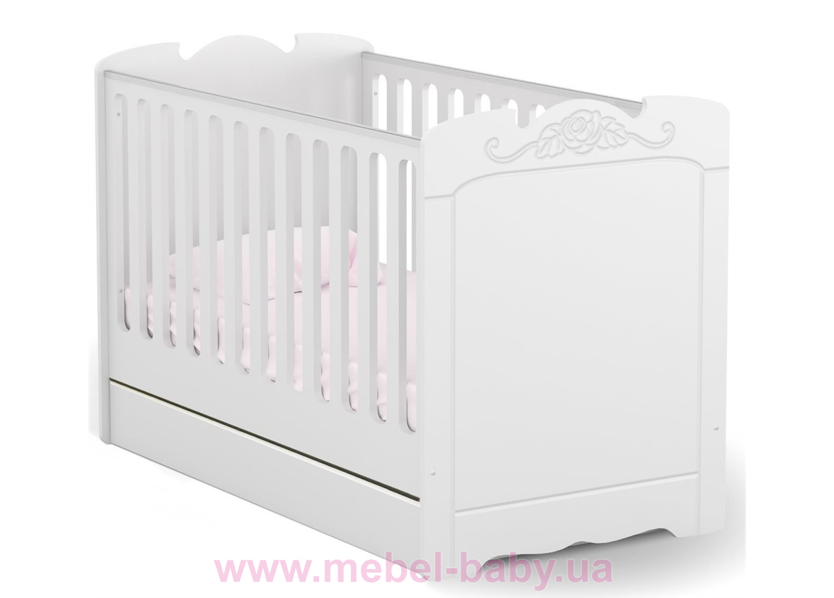 Не качающаяся кроватка для новорожденных Baby Bianco Fiori 431 Meblik Белый 70х140