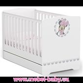 Не качающаяся кроватка для новорожденных Baby Серия Minnie Mouse 431 Meblik Белый 70х140