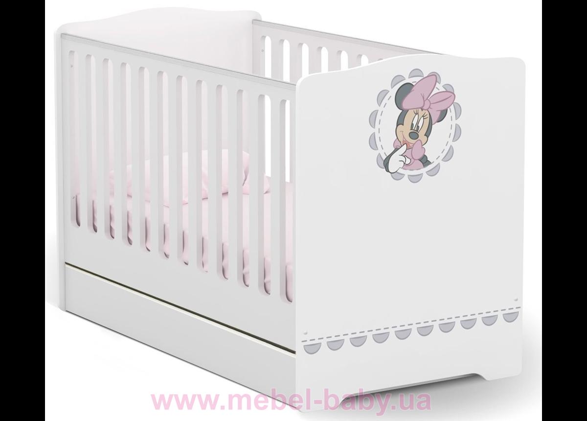 Не качающаяся кроватка для новорожденных Baby Minnie mouse 431 Meblik Белый 70х140