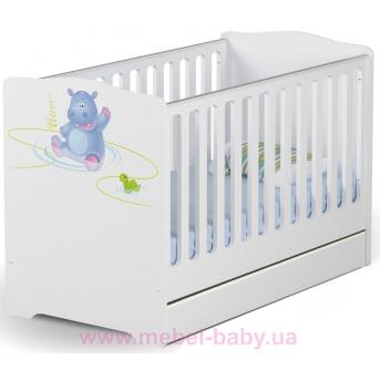 Не качающаяся кроватка для новорожденных Baby Happy animals 431 Meblik Белый 70х140