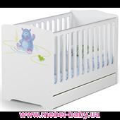 Не качающаяся кроватка для новорожденных Baby Серия Happy animals 431 Meblik Белый 70х140