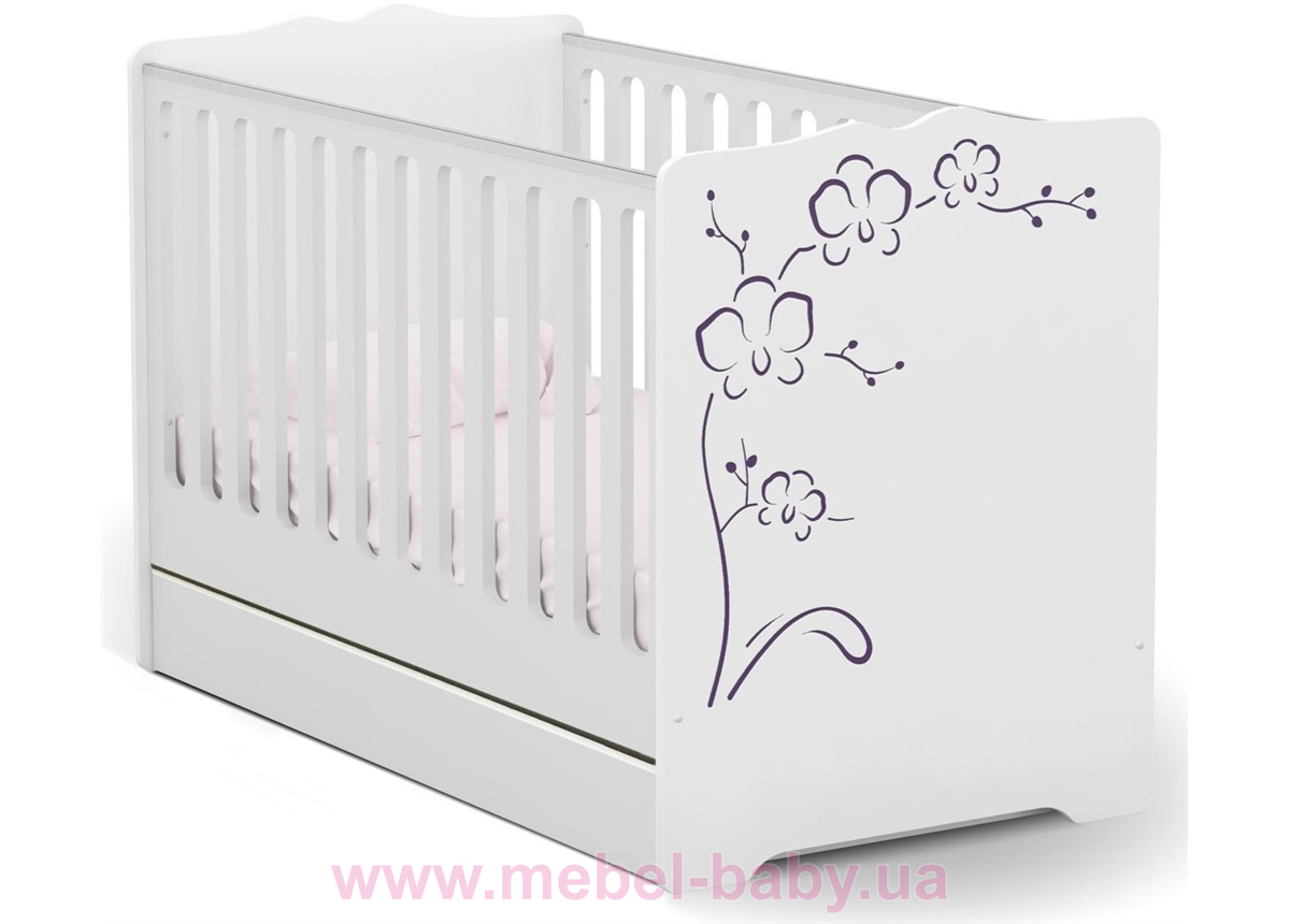 Не качающаяся кроватка для новорожденных Baby Orchidea Violet 431 Meblik Белый 70х140
