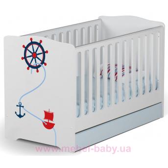 Не качающаяся кроватка для новорожденных Baby Pirate 431 Meblik Белый 70х140