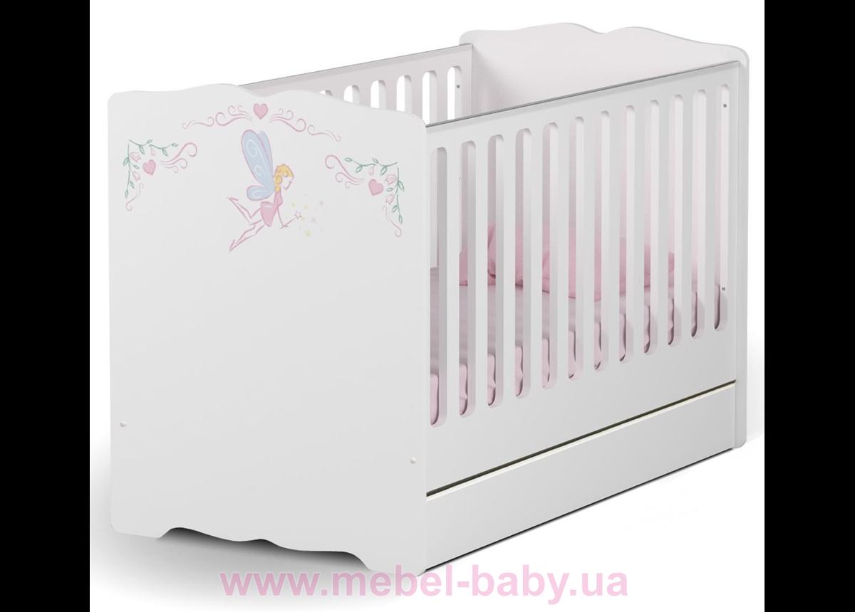 Не качающаяся кроватка для новорожденных Baby Magic Princess 431 Meblik Белый 70х140