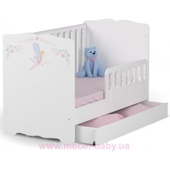 Распродажа_Не качающаяся кроватка для новорожденных Baby Серия Magic Princess 431 Meblik Белый 70х140 с ящиком и текстилём