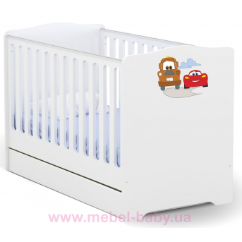 Не качающаяся кроватка для новорожденных Baby Серия Тачки 431 Meblik 70х140