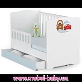 Не качающаяся кроватка для новорожденных Baby Тачки 431 Meblik 70х140