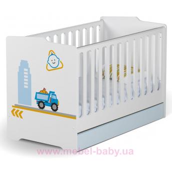 Не качающаяся кроватка для новорожденных Baby Cтроитель 431 Meblik Белый 70х140