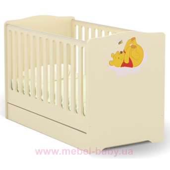 Не качающаяся кроватка для новорожденных Baby Винни и друзья 431 Meblik Бежевый 70х140
