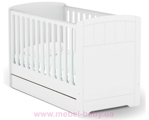 Не качающаяся кроватка для новорожденных Baby Серия Nordic 431 Meblik Белый 70х140