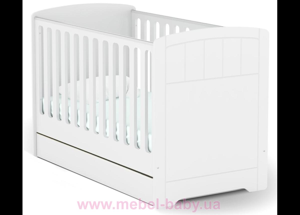 Не качающаяся кроватка для новорожденных Baby Nordic 431 Meblik Белый 70х140