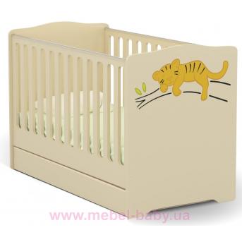 Не качающаяся кроватка для новорожденных Baby Savanna 431 Meblik Бежевый 70х140