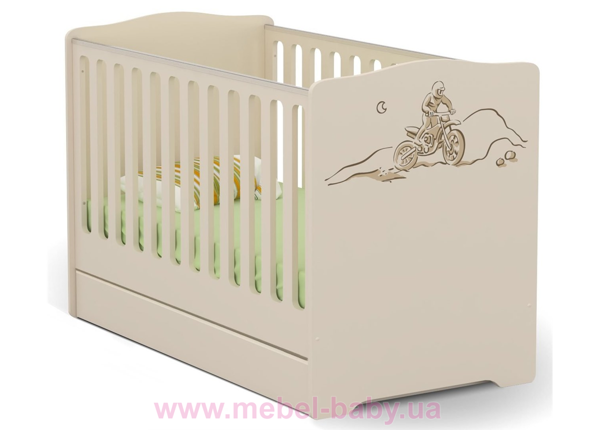 Не качающаяся кроватка для новорожденных Baby Dakar 431 Meblik Бежевый 70х140