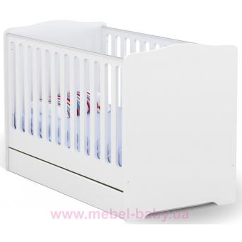 Не качающаяся кроватка для новорожденных Baby Basic 431 Meblik Белый 70х140