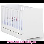 Не качающаяся кроватка для новорожденных Baby Серия Basic 431 Meblik Белый 70х140