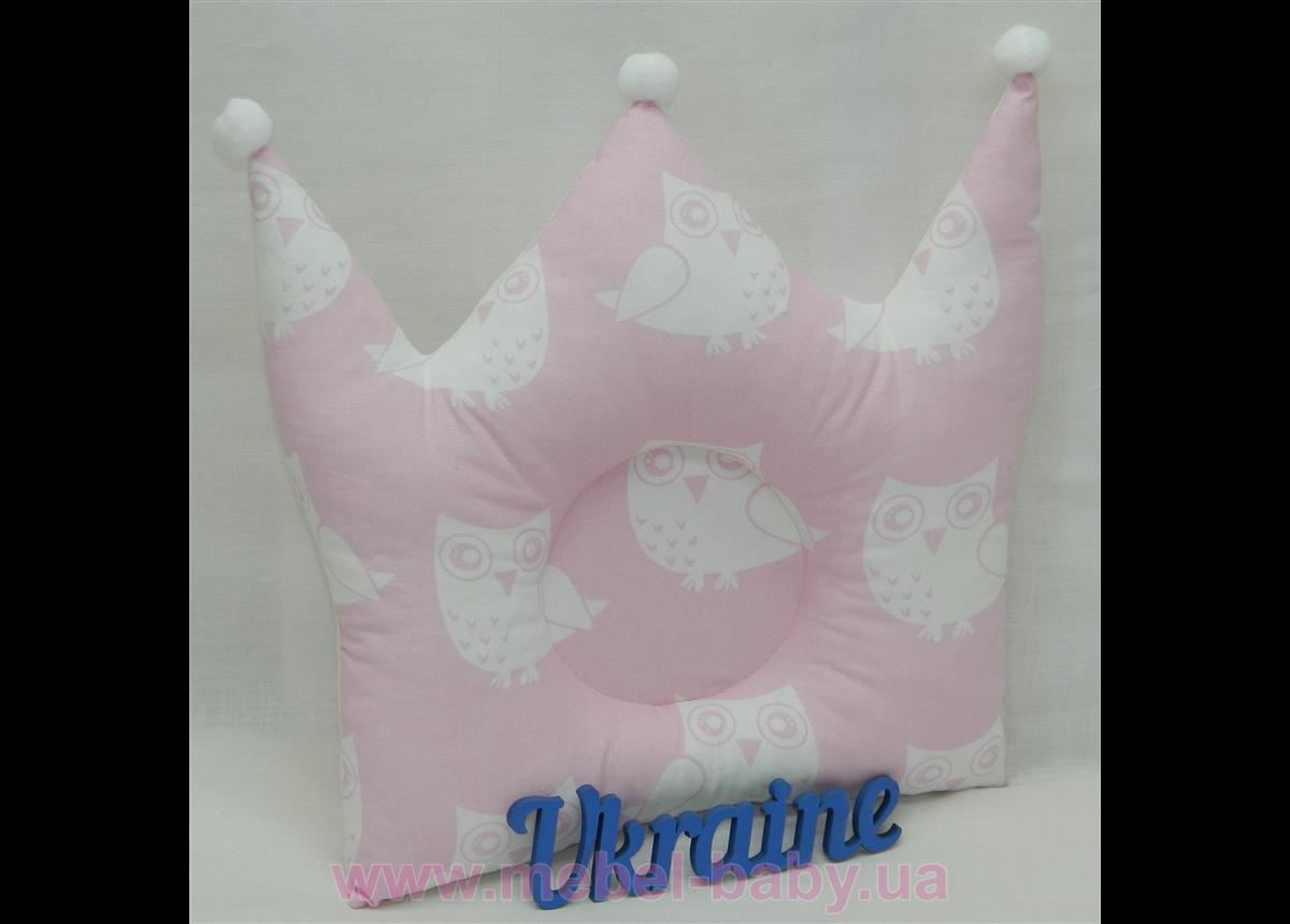 """Подушка для новорожденных """"Корона"""", розовая"""