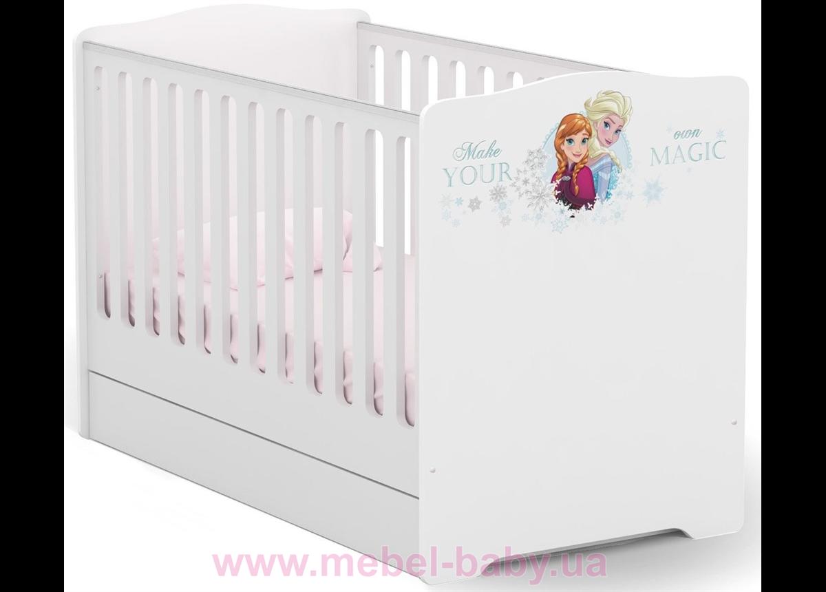 431_Не качающаяся кроватка для новорожденных Baby 70x140 Frozen Meblik белый