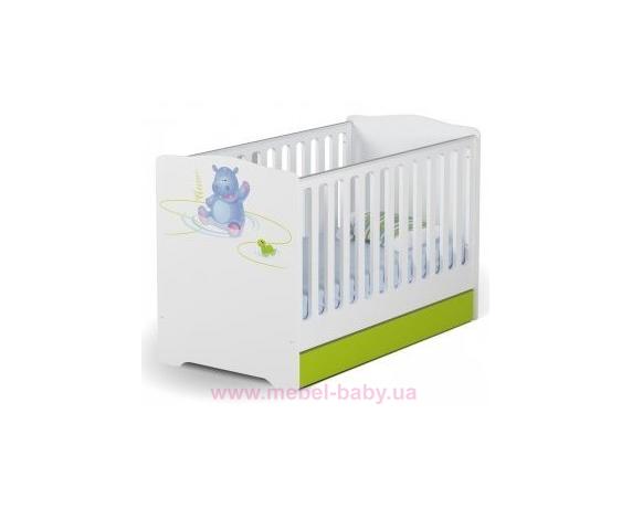 Не качающаяся кроватка для новорожденных Baby 431 70х140 Meblik Серия Happy Animals green