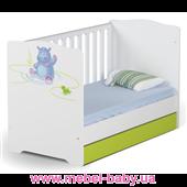 Не качающаяся кроватка для новорожденных Baby 431 70х140 Meblik Happy Animals green