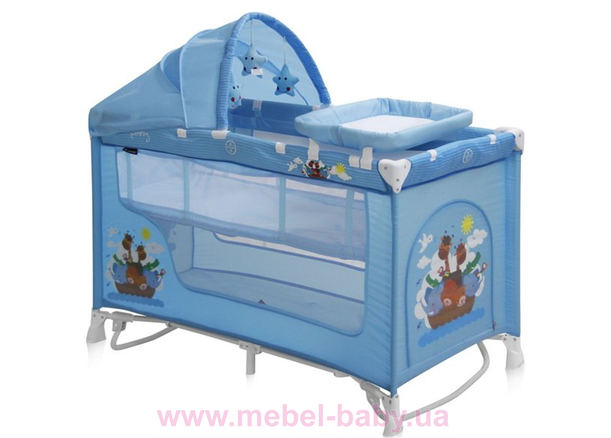 Манеж-кровать NANNY 2 LAYER PLUS ROCKER BLUE ADVENTURE