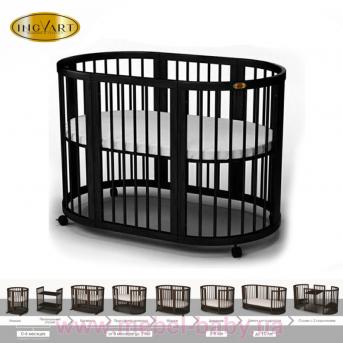 Кроватка BAGGYBED OVAL 9-в-1 с полозьями для укачивания IngVart венге 60x71