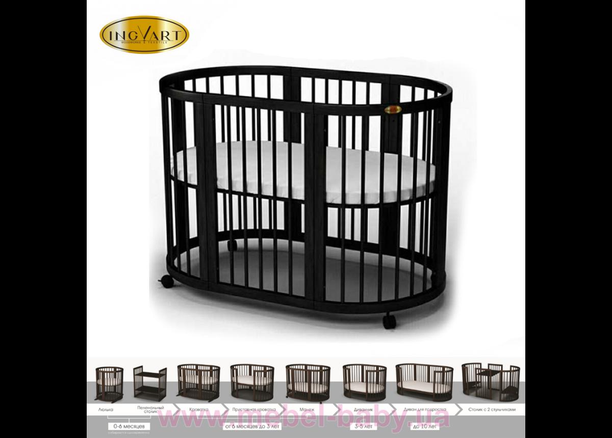 Кроватка BAGGYBED OVAL 9-в-1 с полозьями для укачивания IngVart шоколад 60x71