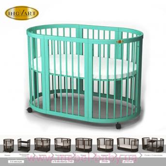 Кроватка BAGGYBED OVAL 9-в-1 с полозьями для укачивания IngVart пал. RAL 60x71