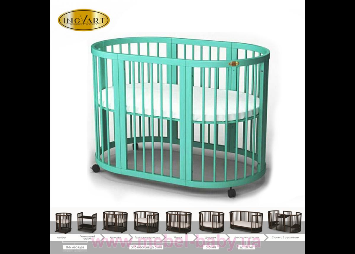 Кроватка SMARTBED OVAL 9-в-1 с полозьями для укачивания IngVart пал. RAL 60x71