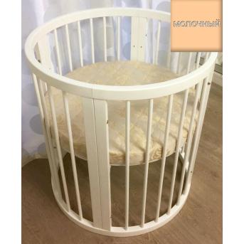 Кроватка BAGGYBED ROUND 9-в-1 с полозьями для укачивания IngVart молочный 72x72
