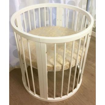 Кроватка BAGGYBED ROUND 9-в-1 с полозьями для укачивания IngVart сл. кость 72x72